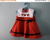 ON SALE Vintage red & white polka dot outfit / two piece set / red white and blue sailor style set with hearts and bows / toddler 24 months,
