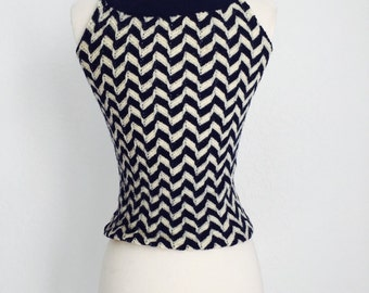 Vintage 1960's Wool Navy Chevron Knitted Tank