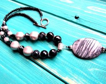 BoHo Black Vintage Beads/Banded Agates/Zebra Jasper 20 Inches