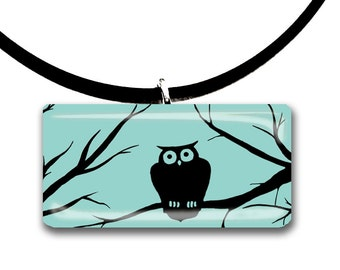 Woodland Owl, Handmade glass tile pendant, color choices, purple and black, hand painted, spooky forest