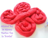 Dyed Merino Top from Ashland Bay - 2 oz of Extra-Soft 19.5 Micron Combed Top to Spin or Felt in Scarlet - Red Merino Top/Merino Roving
