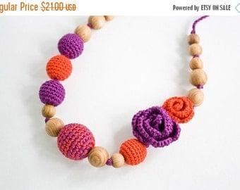 SALE Roses Nursing Necklace - Teething Necklace, Babywearing - Orange, Purple - Teething Jewelry, Mother's day - FrejaToys