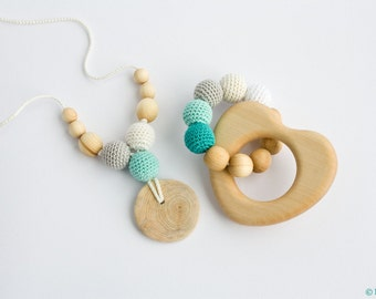 10% OFF - Nursing Necklace and Teething Ring Set - gift for baby boy, baby shower gift - FrejaToys