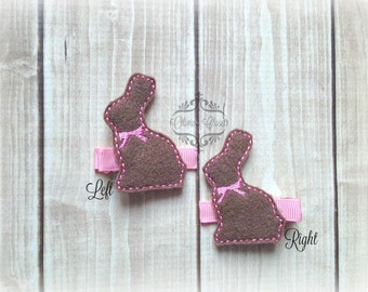 Chocolate Bunny hair clip Easter bunny clip Easter basket chocolate hair clip. Pick Left side or Right.