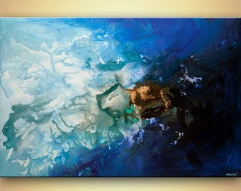"""Modern Blue Abstract Art Contemporary Acrylic painting 48"""" Blue Turquoise Ready To Hang ORIGINAL by Osnat Tzadok"""