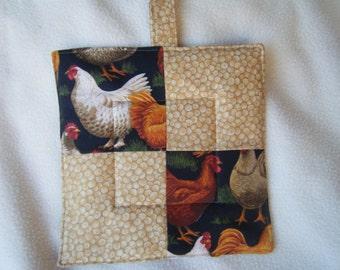 Quilted Rooster/Chicken Potholder or Trivet