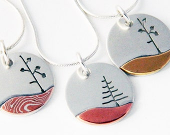 Mixed metal jewelry, Lone Tree pendants, silver, copper, brass and mokume mixed metal pendant
