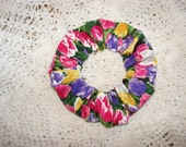 Beautiful Tulip Fields floral design Handmade Fabric Hair Scrunchie, women's accessories, florals tulips, womans scrunchies, gifts for her