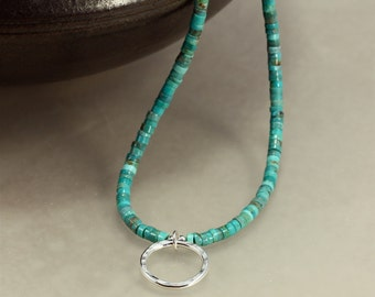 Turquoise Heishi and Silver Hoop Necklace, Southwestern Necklace, Hammered Silver Necklace, Turquoise Heishi Necklace