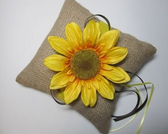 Rustic Sunflower Ring Bearer Pillow  For Your Country Woodland Wedding Day