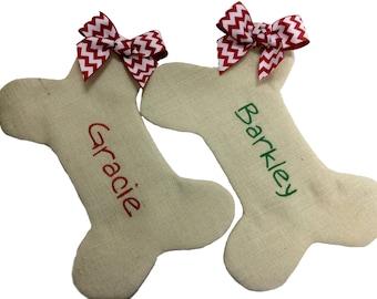 Dog Bone Christmas Stocking, Burlap Dog bone Christmas Stocking, Personalzied Pet Christmas Stocking, Dog Bone Christmas Pet Stocking