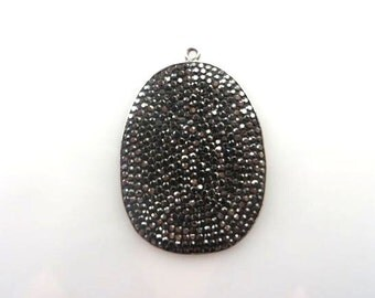 Pave Marquise Wide Oval Pendant