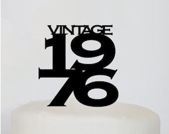Vintage Birthday Cake Topper | 30th Birthday | 40th Birthday | 50th Birthday