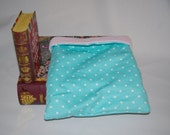 Blue and White Dot Flannel with Light Pink Fleece Snuggle Bag