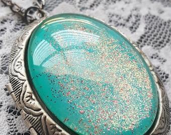 Mermaids Tear Locket Necklace Photo Stash Box Goth Steampunk