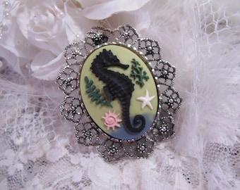 Seahorse Sea Ocean Beach Nautical Brooch Pin Necklace pendant combo w/chain silver or gold