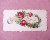 May True Friends Be Around You-A Victorian Calling Card with Roses