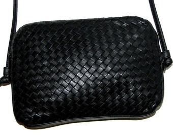Vintage 80s 90s Woven Black Leather Mini Bag