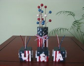 Patriotic, 4th of July, blocks, USA, blocks, firecrackers, Americana, red, white, blue, stripes, ribbon, stars, shelf sitters