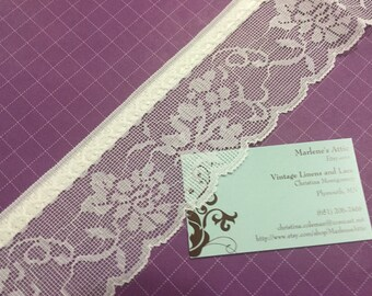 1 yard of 2 3/4 inch White Ribbon chantilly raschel lace trim for sewing, crafts, costume, housewares, couture by Marlenes - Item 4AA