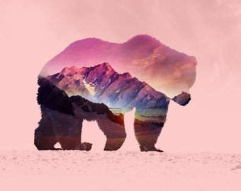 Brown Bear Print Double Exposure