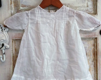 Vintage Newborn Baby Dress | Handmade White Vintage Washed Cotton Baby Dress | Ellie Ann and Lucy