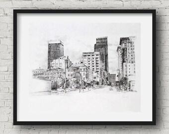 Downtown omaha 13th and jackson pencil drawing print 10x15