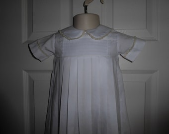 White Hand Smocked Christening Gown with Ecru Lace
