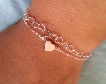 Heart Chain Bracelet, Valentines Gift, heart Links Bracelet, Heart Charms, Gift For Her, Heart Jewelry, Sterling Silver Bracelet
