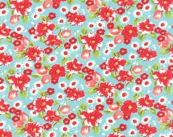 Little Ruby Swoon Aqua 55130 12 by Bonnie and Camille from Moda -1 yard
