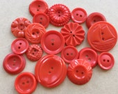 assorted bright red buttons eco friendly and vintage--mixed lot of 18