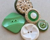 vintage eco friendly distressed celluloid and plastic green and white buttons--mixed lot of 5