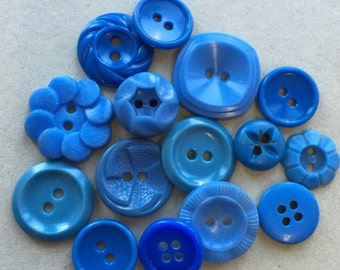 mildly distressed stained eco friendly vintage bold shades of turquoise blue buttons--mixed lot of 15