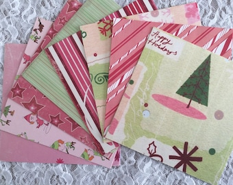Pink and Green Scrapbook Paper Pack, Christmas Paper Stack, 6x6 Paper Stack - 32 Sheets