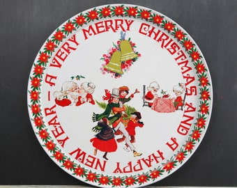 Vintage Christmas Metal Serving Tray w/ Santa and Mrs. Claus Graphics.