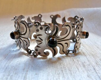 Vintage 1930's Mexican Sterling Silver Black Stone Bracelet