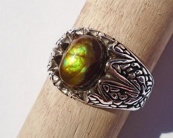 Mexican Fire Agate Sterling Silver Ring Size 9.75