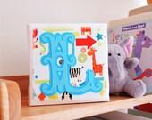 New baby gift - Initial art - Box canvas art - Children's room art - Appliqué felt art - Gift for children's room - Textile art