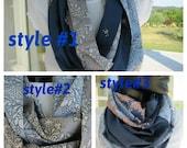 Sale scarves/Grey navy blue damask print cotton infinity scarf - Turkish women's scarves gift under 10 dollar