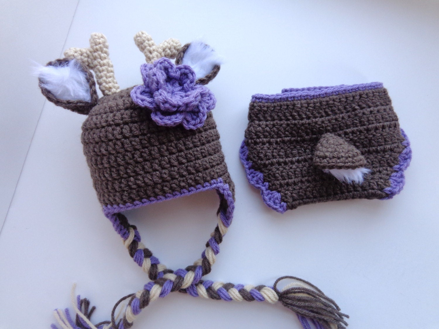 Free Crochet Deer Diaper Cover Pattern : Newborn Crochet Deer Hat and Diaper Cover Knit Hat Baby