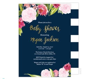 Navy & Gold Baby Shower Invitation - Pink and Gold Baby Shower - Floral Baby Shower Invitation - Printable Invitation - Watercolor Flowers