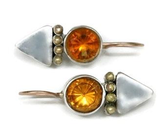 Amber Citrine Earrings, Silver Triangle Amulet Earring Drops, Orange Gemstone Earrings, Bezel Set Citrine  Artisan Handmade by Sheri Beryl