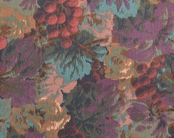 "Vintage Upholstery Fabric, Cotton Canvas Fabric, Canvas Upholstery, Grape Fabric, Heavy Fabric, Vintage Fabric - 57"" x 26"" - UF1754"
