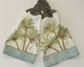 Key West Crochet Top Kitchen Hand Towel Set of 2