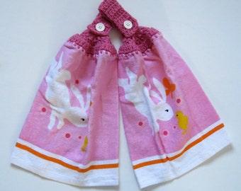 Easter Bunny Chick Crochet Top Kitchen Towel Set of 2