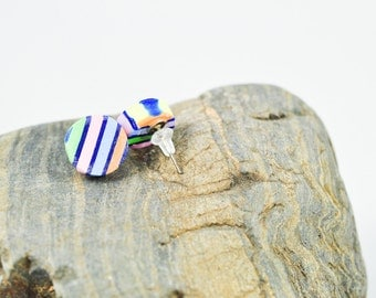 Round Rainbow Striped Stud Earrings