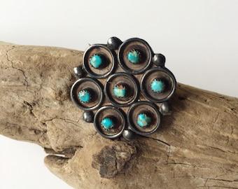 Navajo Zuni Turquoise Brooch, Vintage Petit Point Zuni Brooch, Navajo Jewelry