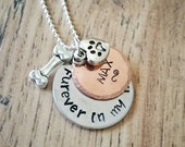 Dog Memorial, Dog Necklace, Memorial Gift, Pet Necklace, Dog Jewelry, Hand Stamped, Custom Jewelry, Personalized Pet, Furever In My Heart