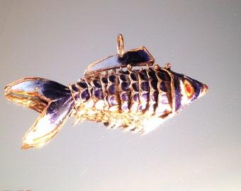 Vintage Chinese Enamel Cloisonne Fish Pendant Boho Purple