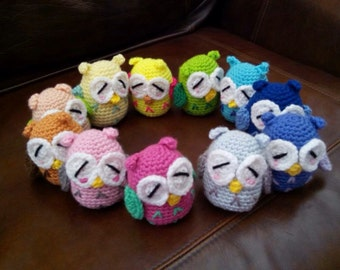 Set of 11 Crochet Owls